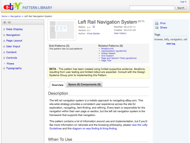 eBay UI pattern library